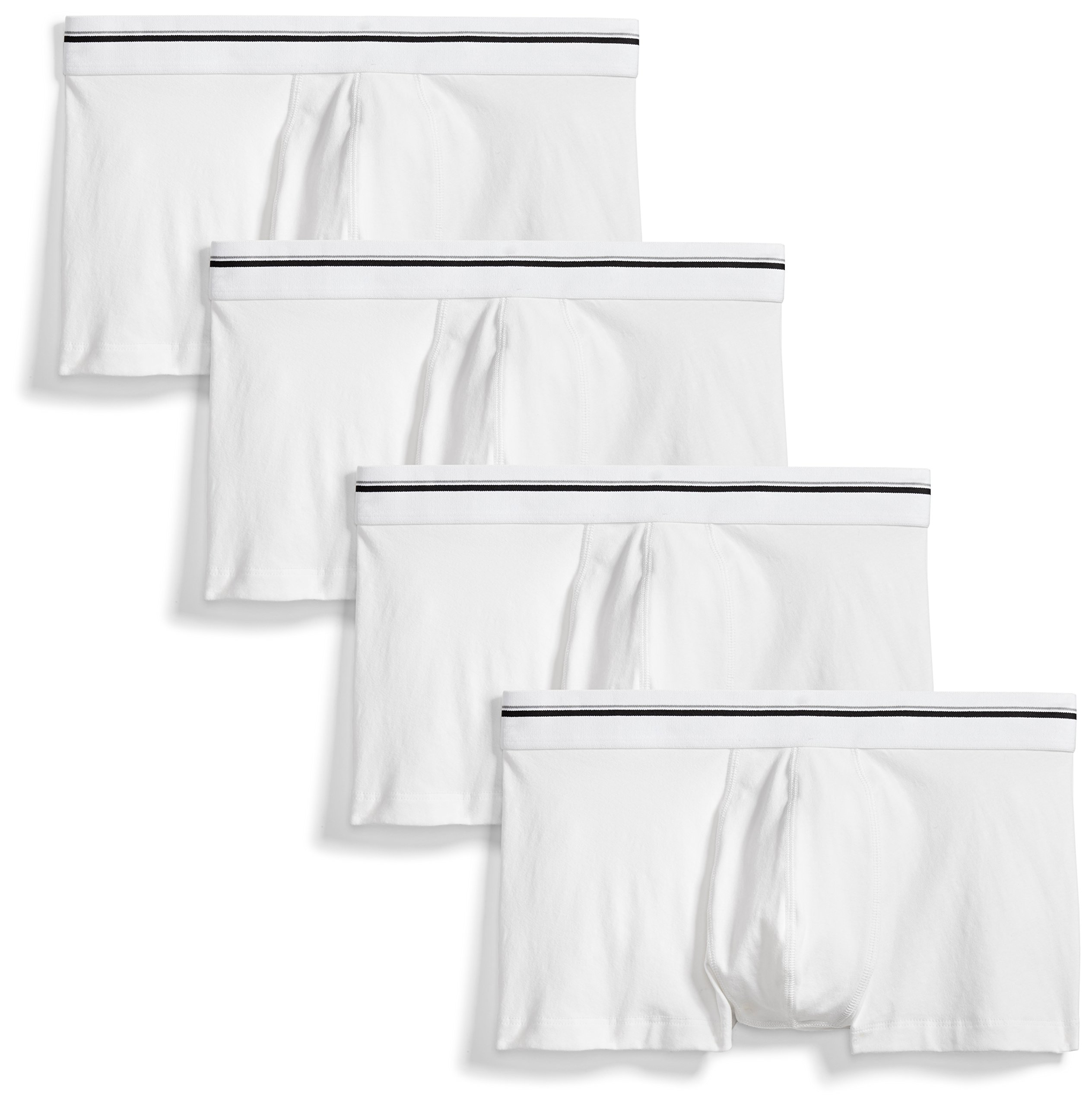 Goodthreads Men's 4-Pack Tag-Free Trunk Underwear, White, Large