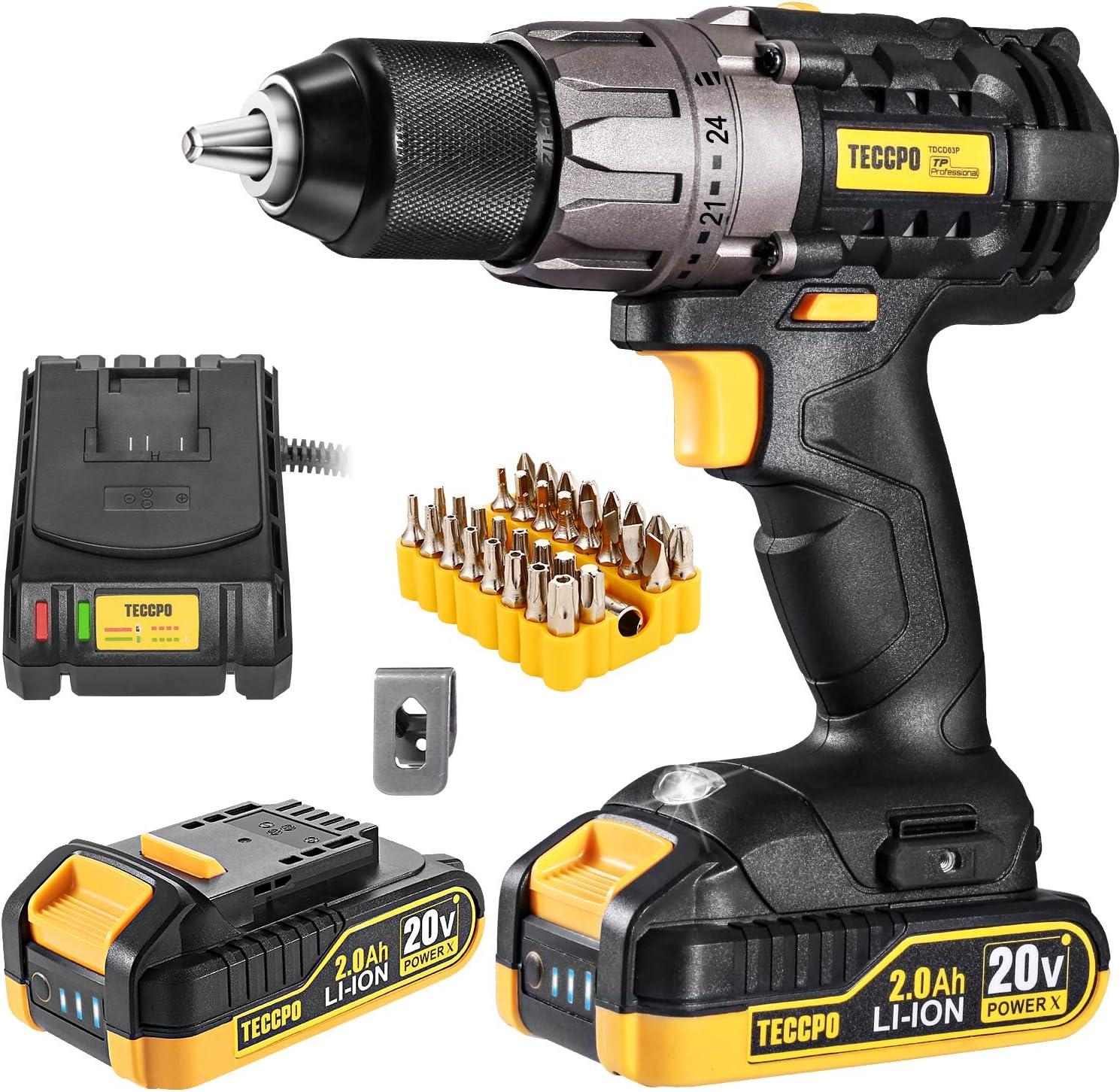 TECCPO 20V 2x2000mAh 33pcs Cordless Drill $59.98 Coupon