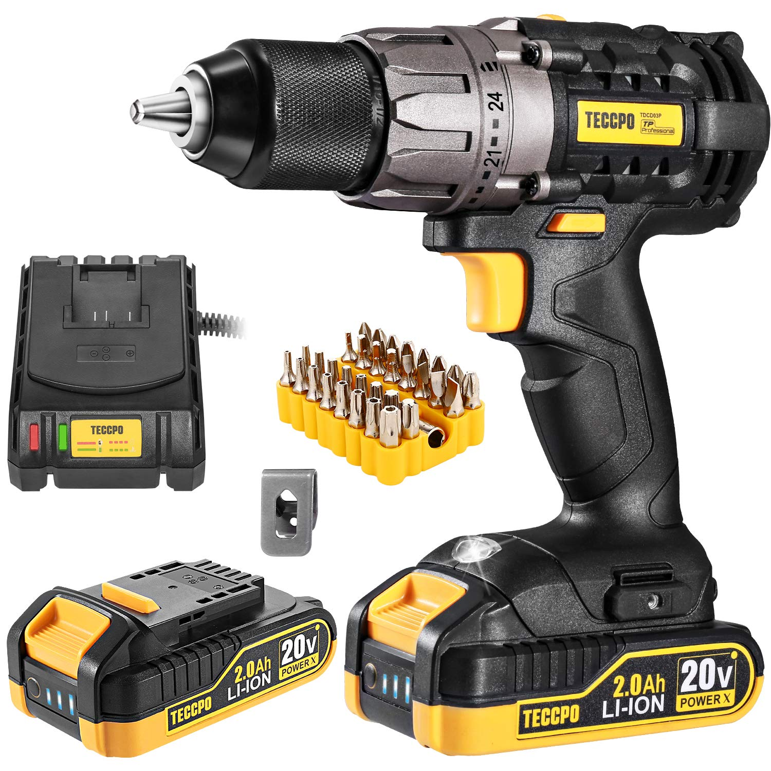 "Cordless Drill, 20V Drill Driver 2x2000mAh Batteries, 530 In-lbs Torque, 24+1 Torque Setting, Fast Charger 2.0A, 0-1700RPM Variable Speed, 33pcs Accessories, 1/2"" Metal Keyless Chuck, TECCPO"