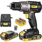 Cordless Drill, TECCPO 20V Drill Driver 2x2000mAh Batteries, 530 In-lbs Torque, 24+1 Torque Setting, Fast Charger 2.0A, 0-170