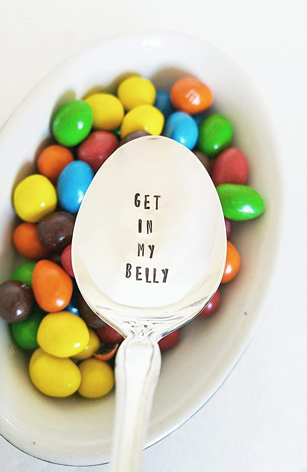 Get In My Belly Hand Stamped Spoon Funny Gift Engraved Spoon Quote