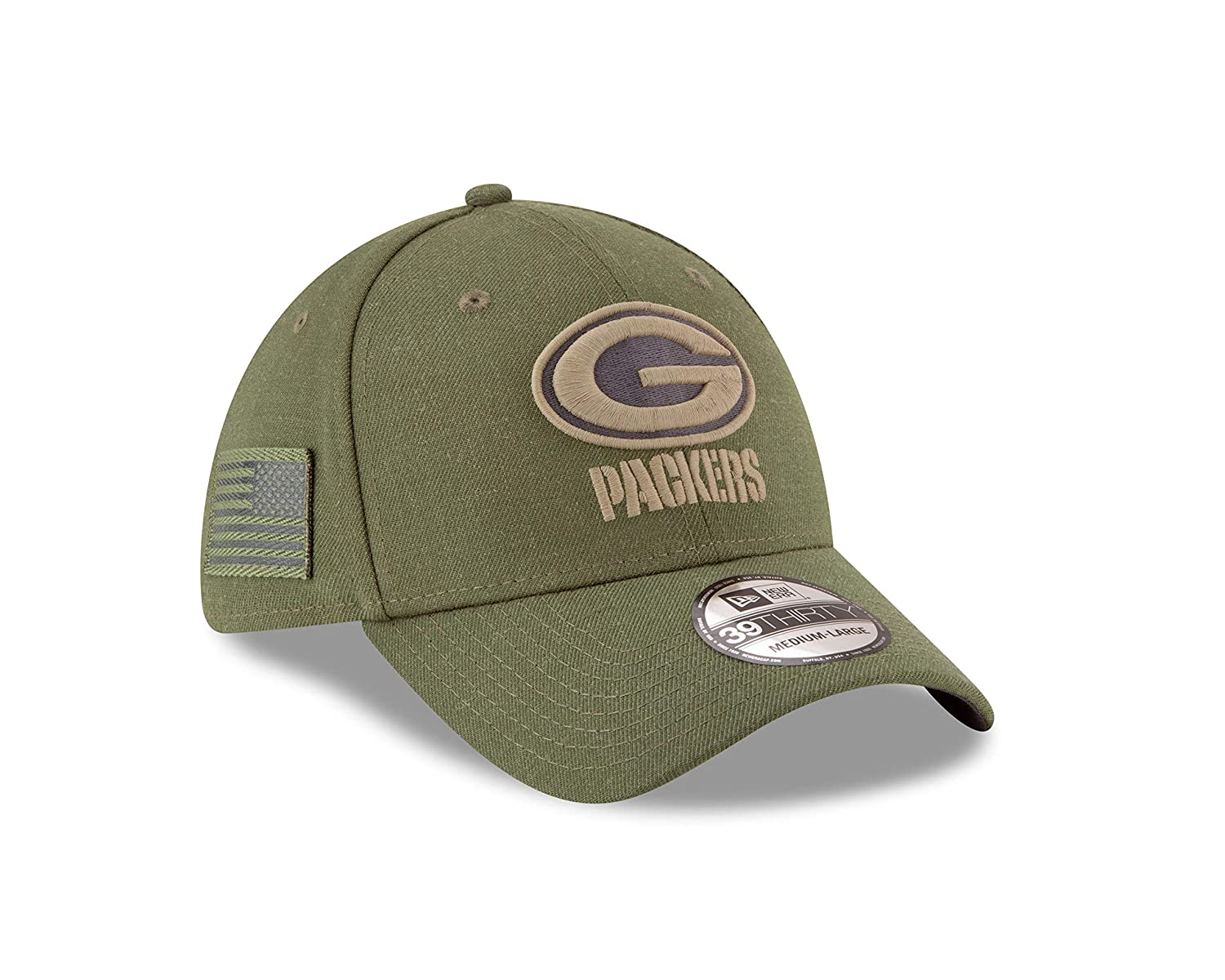 New Era Green Bay Packers 39thirty Stretch Cap On Field 2018 Salute to Service