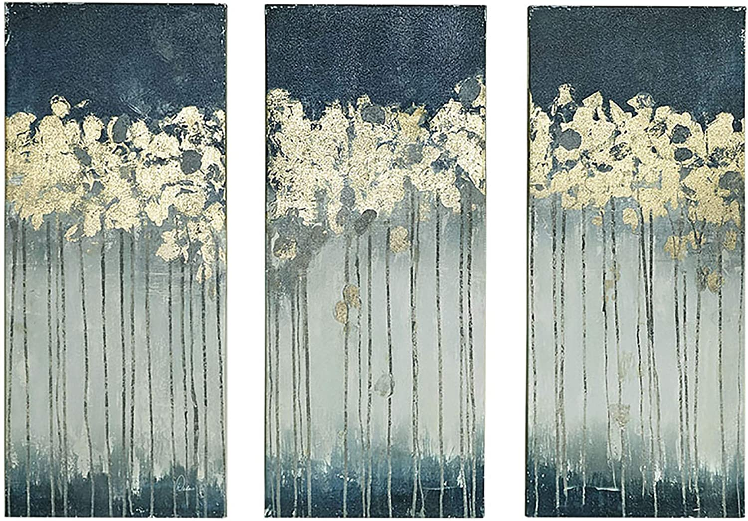 B018593CLQ Madison Park Midnight Forest Wall Art Hand Embellished Abstract Stretched 3 Piece Set Canvas Painting Living Room Décor, Gold 81AGCUWGoNL