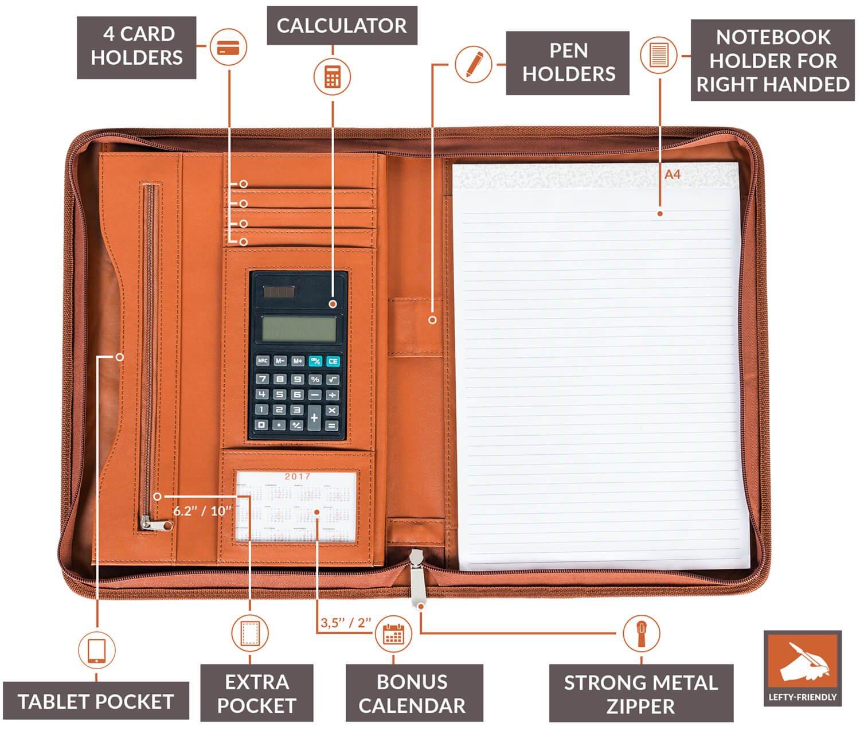 Cartera Portadocumentos De Premium Funda carpeta con bloc de notas y calculadora de escritura Plus de piel sintética cierre con cremallera y interior 10,1 ...