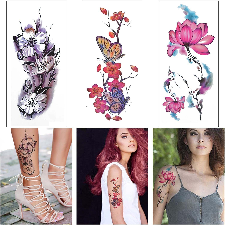 COKOHAPPY Acuarelas Temporales Tatuaje 8 Diferente hoja ciruela ...