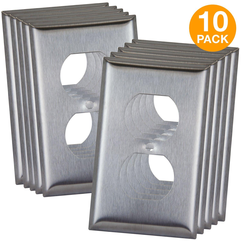 ENERLITES Duplex Receptacle Outlet Metal Wall Plate, Corrosive Resistant, Size 1-Gang 4.50'' x 2.76'', 7721-10PCS, 430 Stainless Steel (10 Pack), 10 Piece by ENERLITES