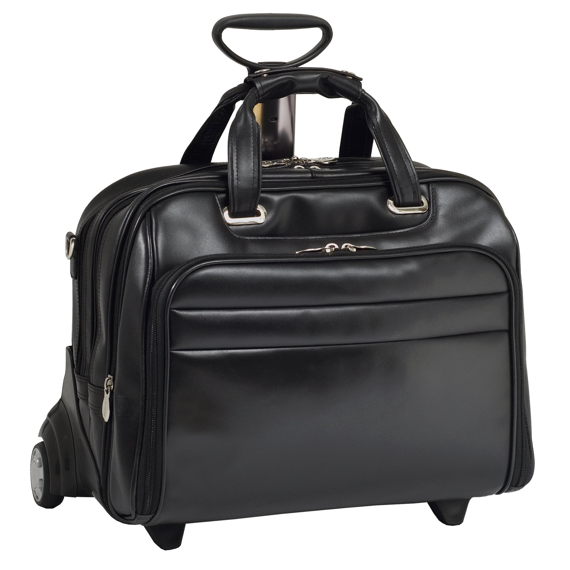 Check-point Friendly Wheeled Laptop Case, Leather, 15.6''in, Black - MIDWAY | Mcklein