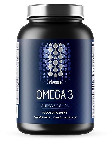 Omega 3 – 1000 mg x 365 Kapseln   Jahresvorrat   Omega-3 Fischöl, Spitzenqualität in Großbritannien hergestellt   365 Weichka
