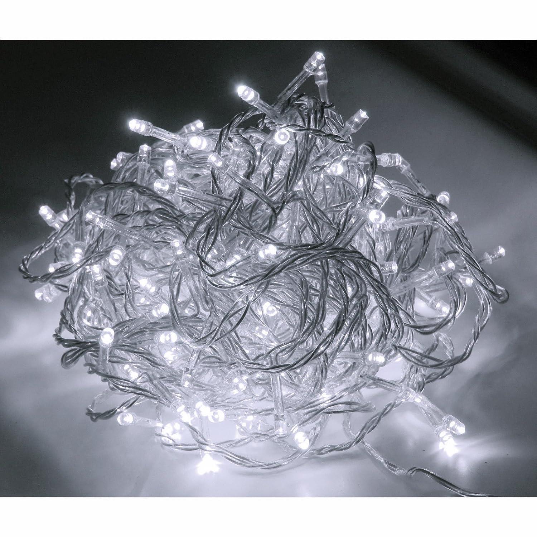 48er LED Strom Lichterkette für außen Lichtfarbe kaltweiss Kabel transparent Linder