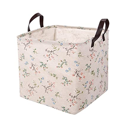 Merveilleux XDeer 100% Cotton Canvas Storage Basket, Household Storage Organizer Bin  With PU Handle,