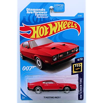 Hot Wheels 2020 Int'l Card '71 Mustang MACH 1 James Bond Diamonds are Forever 2/250 HW Screen Time Red Die-Cast Movie Car: Toys & Games
