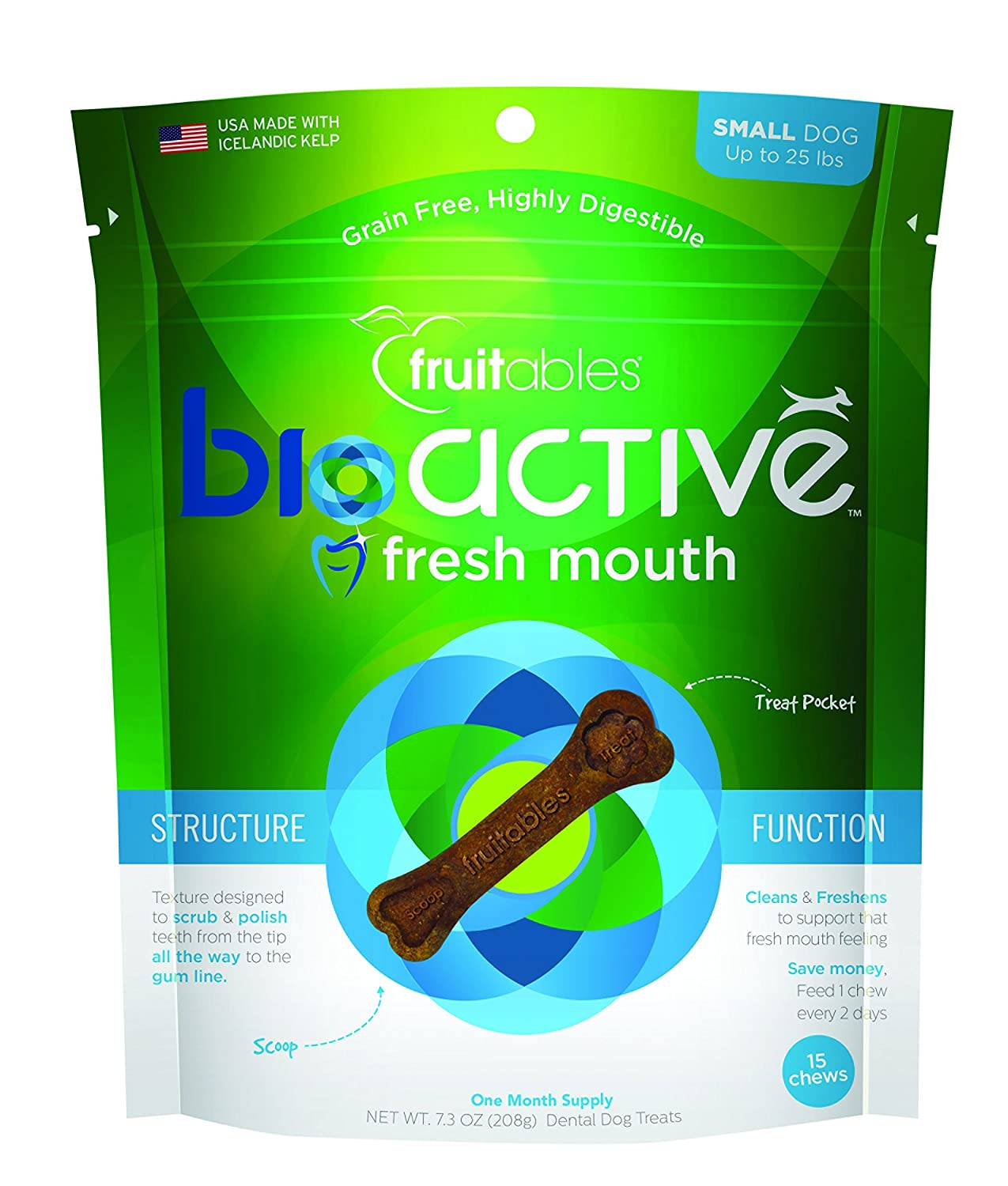 Fruitables BioActive Fresh Mouth Dental Dog Treats, Small