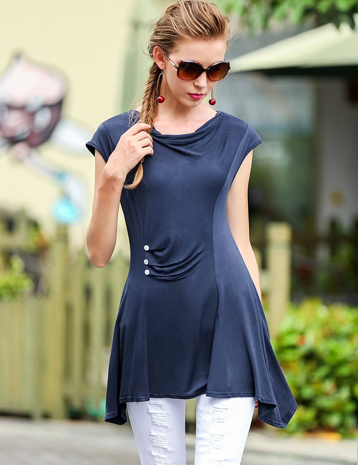 Meaneor Womens Casual Short Sleeve Cowl Neck Ruched Button Tunic Top Shirt