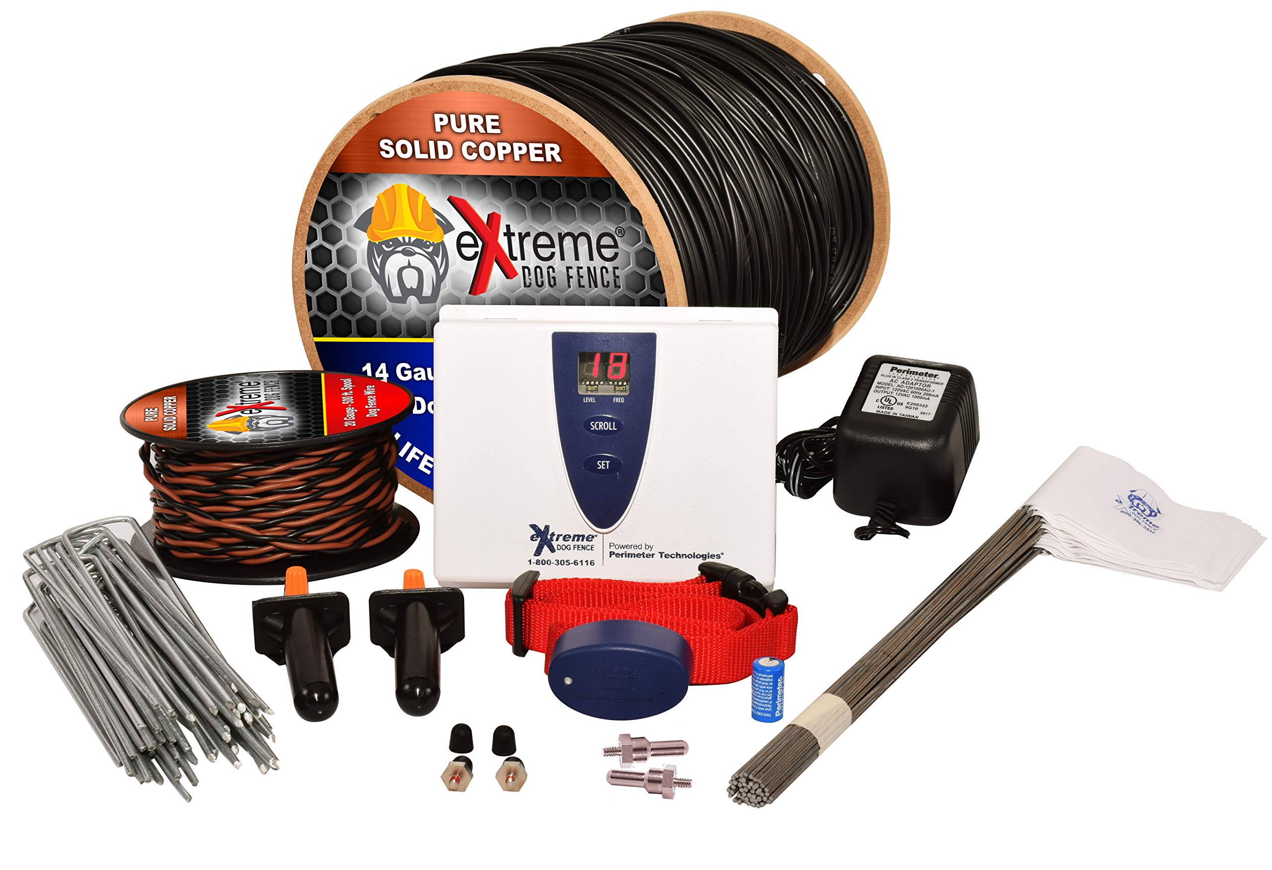 Extreme Dog Fence Ultimate Underground Electric Dog Fence - 1 Dog / 500' of 14 Gauge Boundary Wire PRO Grade D.I.Y. Pet Containment System Kit Powered by Perimeter Technologies by Extreme Dog Fence