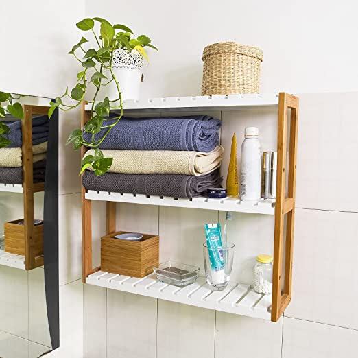SoBuy Mensola da parete, scaffale pensile, mensola da bagno, soggiorno,  cucina, mensola ufficio, mensola bambù,FRG28-WN,IT (B60xT15xH54cm)