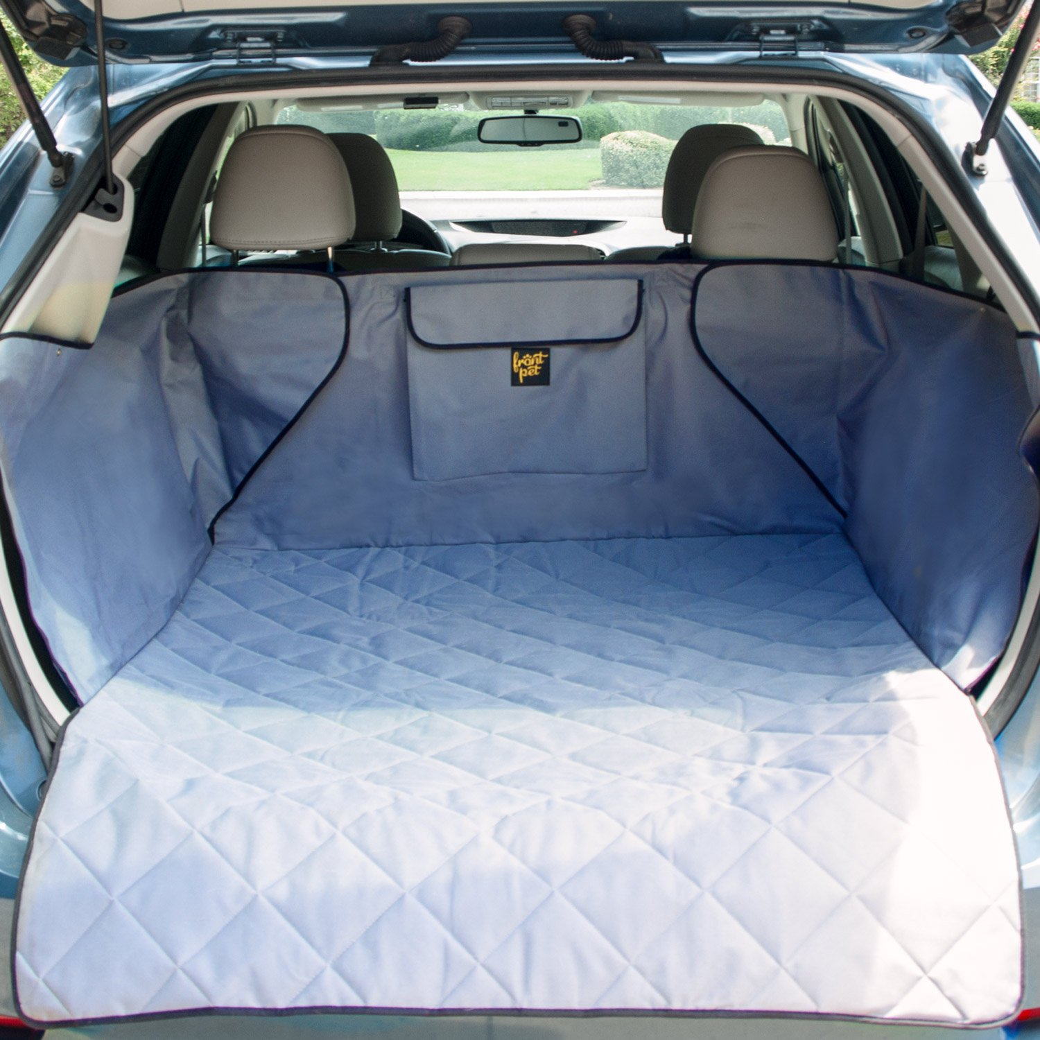 Grey FrontPet Quilted Dog Cargo Cover for SUV Universal Fit for Any Animal. Durable Liner Covers and Predects Your Vehicle