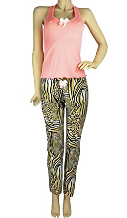 Hipnys Sleepwear PAS01 PJ Sets for Women Tank Top Pajamas & Pants Sleeveless PJs
