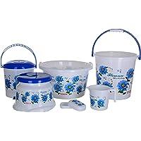Aarohi13 Plastic Bath Set, 6 Pieces, Blue
