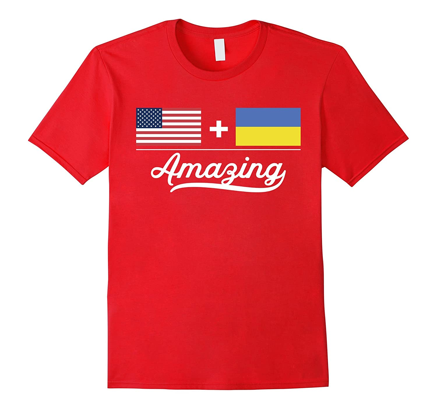 American + Ukrainian = Amazing Flag T-Shirt USA and Ukraine-Art