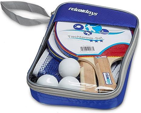 Relaxdays Conjunto de Tenis de Mesa con Red, 27 cm x 17 cm x 5 cm, 2 Raquetas, 3 Pelotas de Tenis de Mesa, Bolsa, Color Azul, de la Marca: Amazon.es: Deportes y aire libre