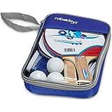 Relaxdays Tischtennis Set mit Netz, HxBxT: 27 x 17 x 5 cm, 2 konische Schläger, 3 Tischtennisbälle, Tragetasche, blau