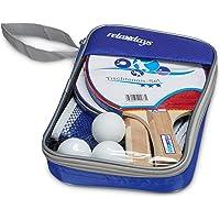 Relaxdays Conjunto de Tenis de Mesa con Red, 27cm x 17cm x 5cm, 2Raquetas, 3Pelotas de Tenis de Mesa, Bolsa, Color Azul, de la Marca
