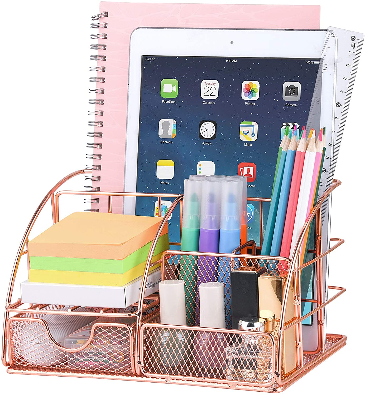 Rose Gold Desk Organizer for Women,Cute Mesh Office Supplies Accessories Essentials Caddy for Home & Office Desktop Organization & Decor