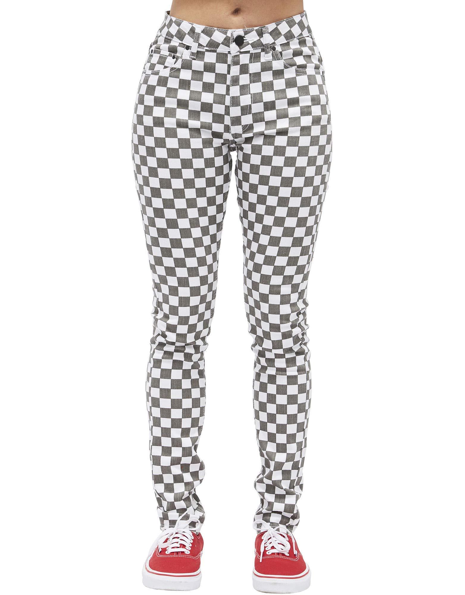 Dickies Girl Juniors' Skinny Fit 5 Pocket Checkered Pants (White/Black, 0)