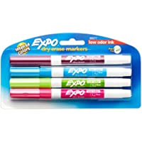 Expo 2 Low-Odor Dry Erase Markers, Fine Point, 4-Pack, Fashion Colors