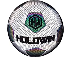 HOLOWIN Holographic Luminous Soccer Ball for Night Games & Training, Glowing in The Dark Light Up Reflective with Camera Flas