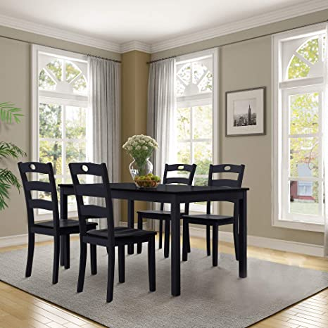 Admirable Amazon Com Rhomtree 5 Piece Dining Set Solid Wood Kitchen Onthecornerstone Fun Painted Chair Ideas Images Onthecornerstoneorg