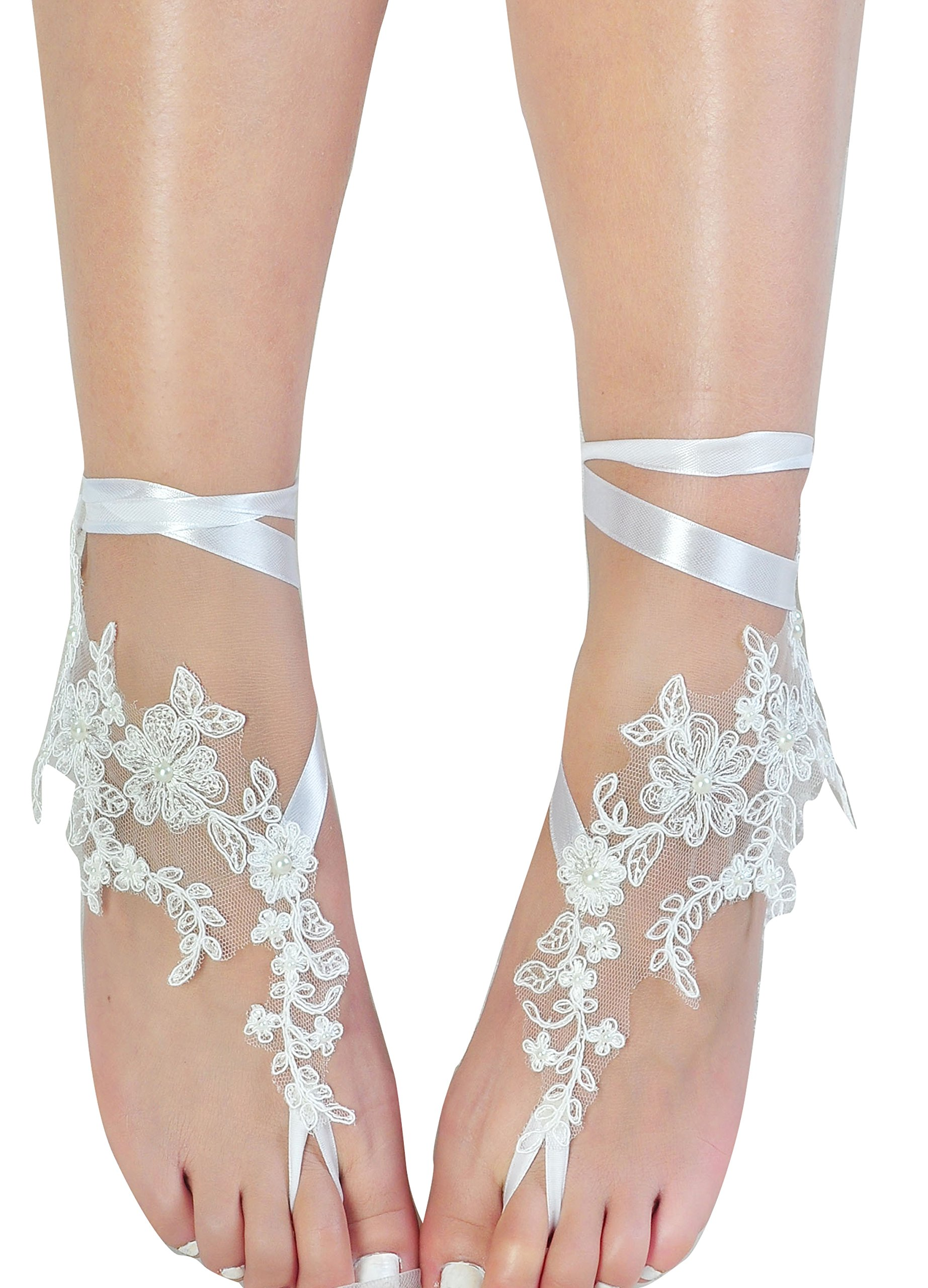 Romantic Lace Barefoot Sandals,Bridal Wedding Shoes,Bridesmaid Barefoot Sandals