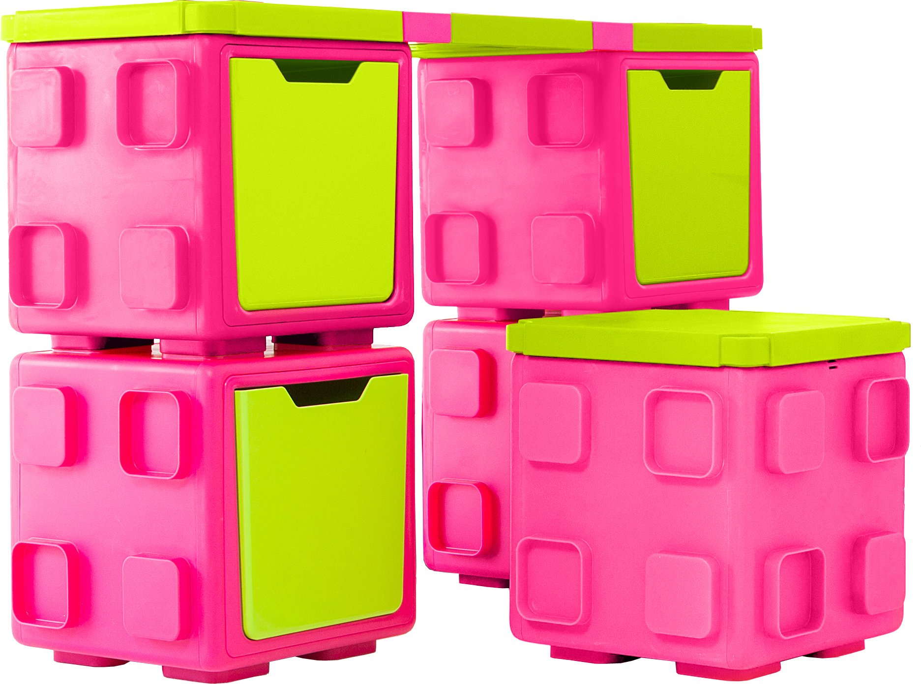 Chillafish BOX and BOXTOP Bundle: Connectable Toy Storage and Play System, Desk and Chair Pack, Pink/Lime
