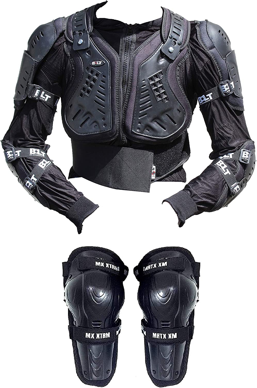 XTRM BOLT CORE 4 MX KIDS OFF ROAD DEFLECTOR Motorbike Quad ATV Sport CE Approved Children Body Armour Jacket BLACK /& KIDS MX HINGED KNEE
