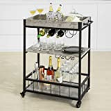 Haotian FKW56-HG Modern Design 3 Tiers Kitchen Trolley Serving Trolley with Wine Rack Metal & MDF (Grey)