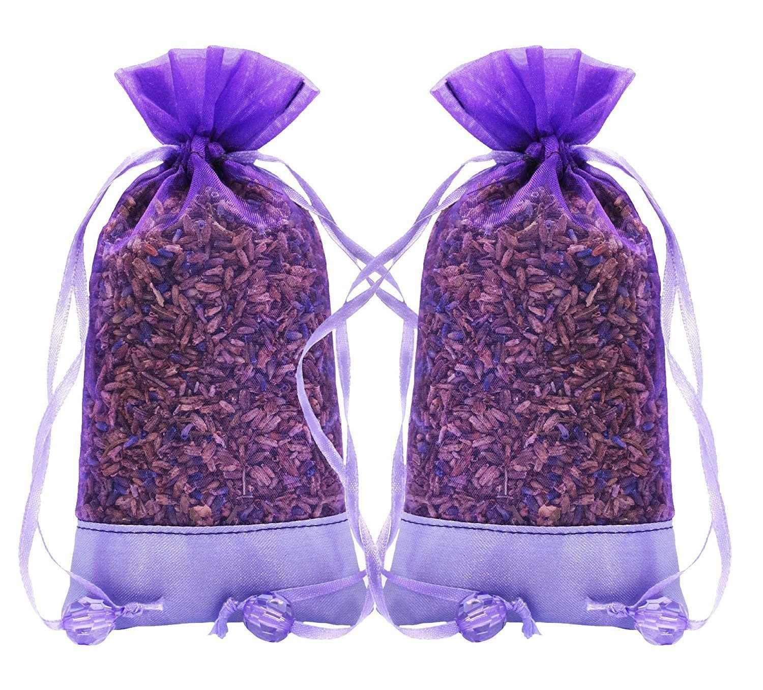 Lavender Natural Air Freshener for Closet, Drawer, Car, Room - 2 Packs of 30 Grams Cozy Pouch Sachets Filled with Dried French Lavender Buds The Ambient Collection AC01011
