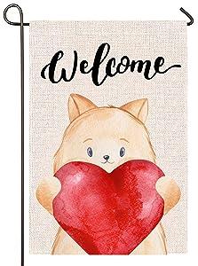 Atenia Burlap Garden Flag, Double Sided Garden Outdoor Yard Flags for Valentines Decor (Lovely Cat)