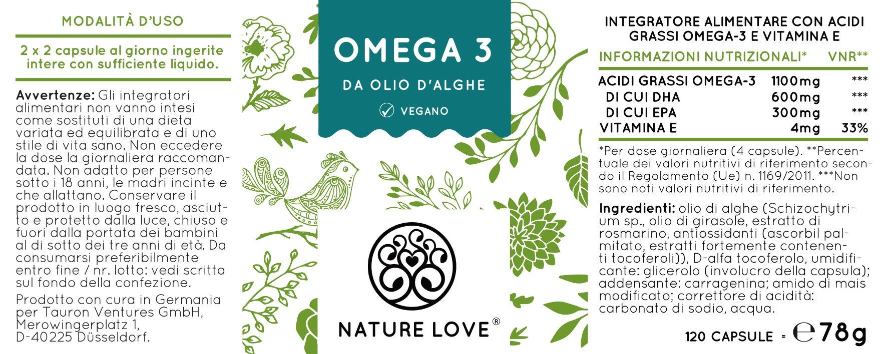 Omega 3 capsule di olio di alghe – qualità premium: integratore alimentare di Omega3 da Olio di Alghe Puro. Senza Olio di Pesce. 120 capsule di piccole dimensioni, facili da deglutire. Contengono acidi grassi essenziali EPA e DHA. Vegan, al