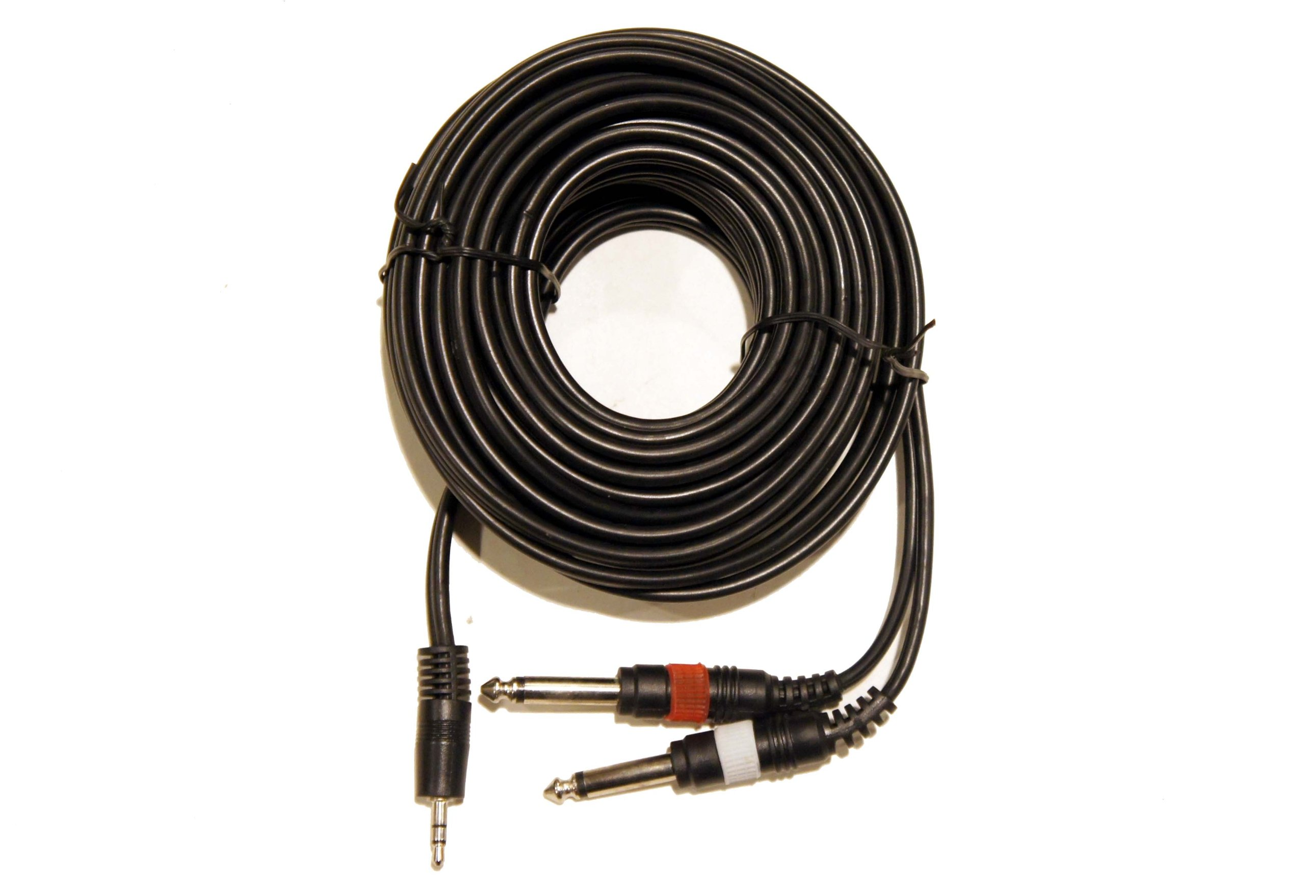 25' 3.5mm Stereo TRS Male to 2 X 1/4'' 1/4 Inch 6.3mm Male Left Right Plugs Cable by Keen Eye