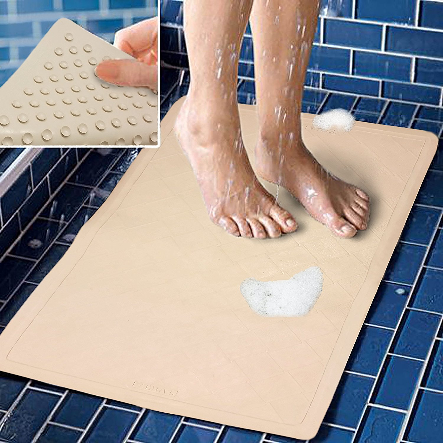 Bath Mat Non Slip Rubber With Super Strong Suction Cups Stays In Place Great for Shower Tubs or Laundry Room Floors 22 by 14 Inches By Decor Hut