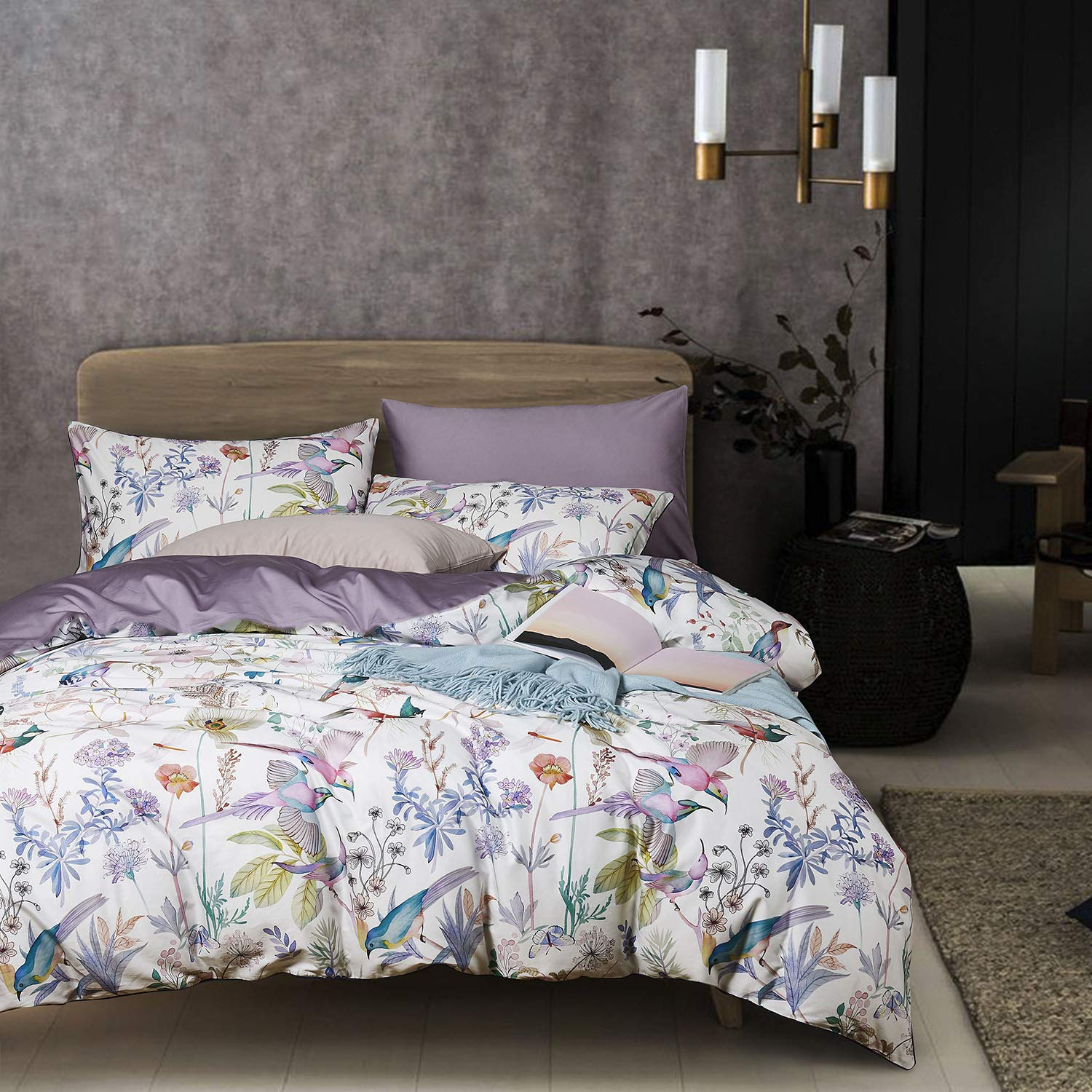 Wake In Cloud - Birds Duvet Cover Set, Sateen Cotton Bedding, Watercolor Botanical Floral Flower Tree Leaves Pattern Printed in Light Purple Lilac, with Zipper Closure (3pcs, Queen Size)