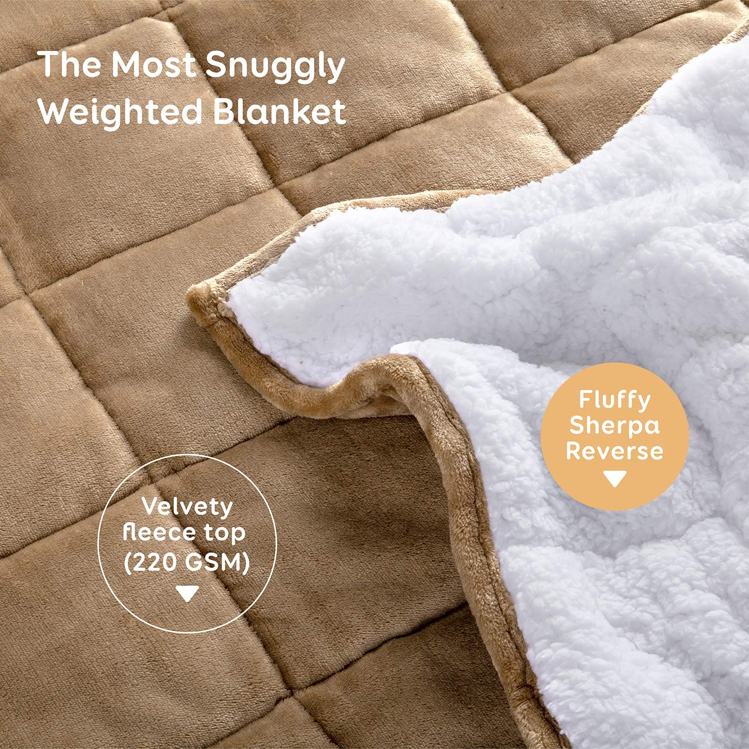 BUZIO Sherpa Fleece Weighted Blanket for Adult, 15 lbs Heavy Fuzzy Throw Blanket with Soft Plush Flannel, Dual Sided Queen Size Cozy Fluffy Blanket, 60 x 80 inches, Light Tan