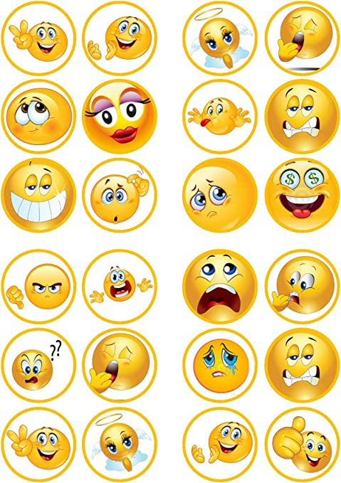 12 round edible cake topper EMOJI Wafer paper or Icing