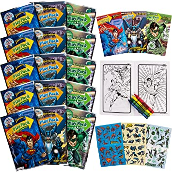 bendon 15 super hero play packs superman batman green lantern coloring books stickers crayons