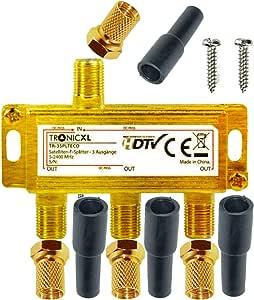 TronicXL 3 Vias Distribuidor de antena digital para satélite Splitter / Combinador de Cables Divisor de señal para Cable Televisión conector F con ...