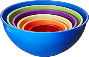 Gourmet Home Products 6 Piece Nested Polypropylene Mixing Bowl Set, Royal Blue