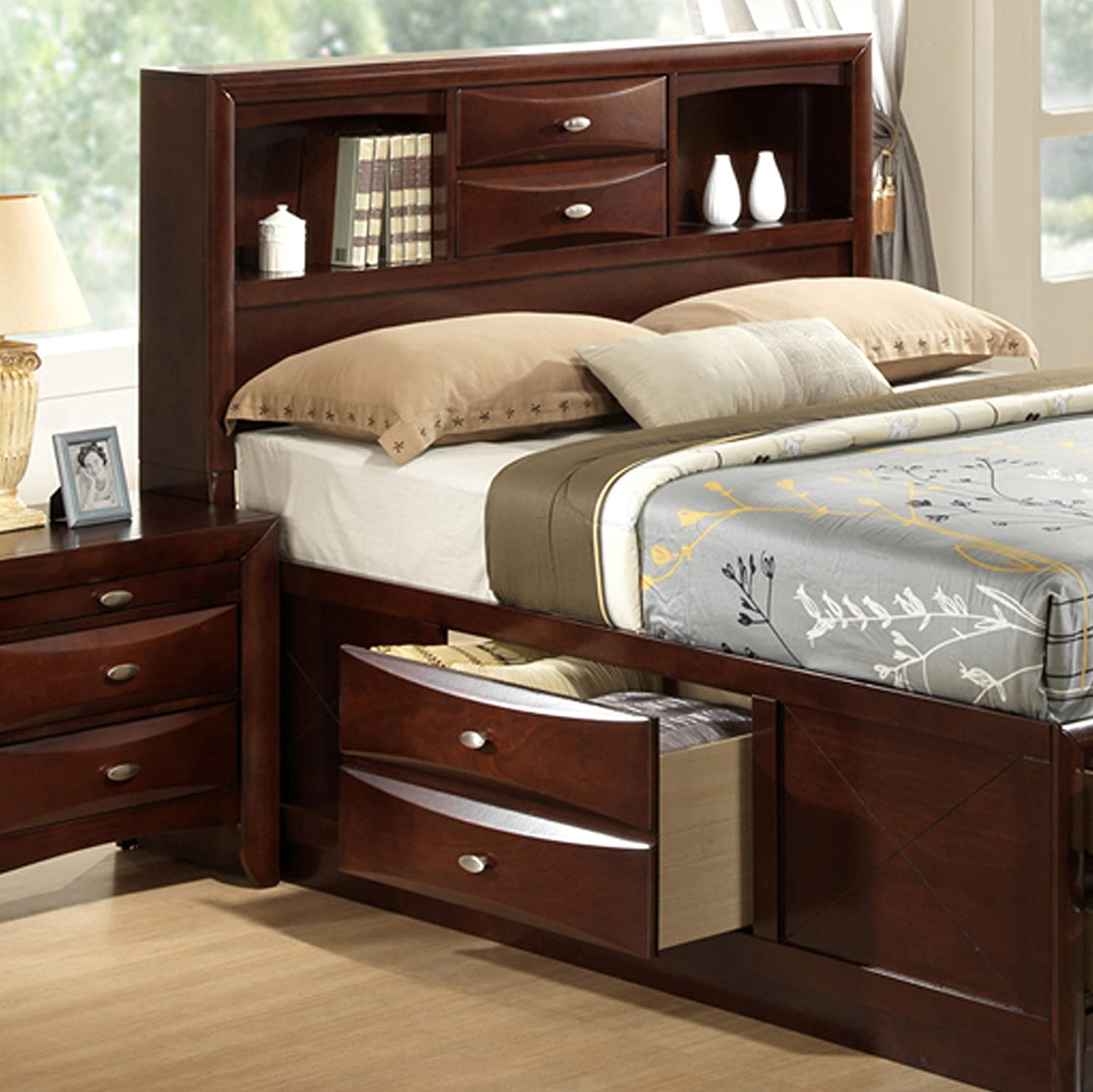 Amazon Roundhill Furniture Emily 111 Wood Storage Bed King