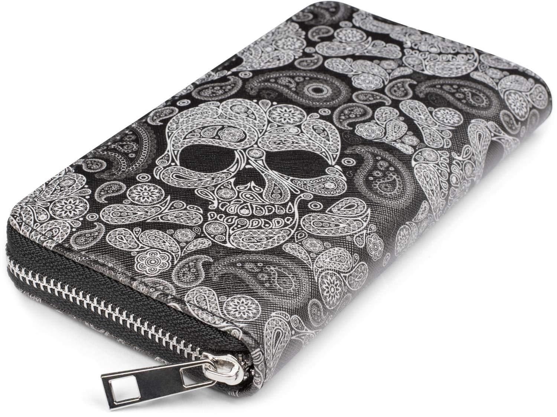 styleBREAKER Women Purse with Skull Paisley Print Zip Wallet 02040118 Color:Black