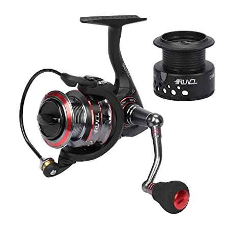 RUNCL Spinning Reel Grim II, Spinning Fishing Reel – Spare Spool, 10 1 Stainless Steel Shielded Bearings, Sealed Triple Carbon Drag, NCTM Brass Pinion Gear, Oversized EVA Knob Black