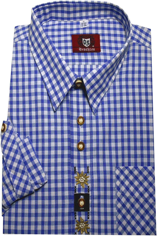 Orbis 0102 Camisa de traje regional maíz azul blanco cuadros con bordado Manga remangada corte cómodo M hasta 4XL - Azul, 6XL / 53/54: Amazon.es: Ropa y accesorios